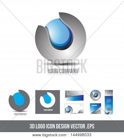 Corporate business grey blue logo sphere design 3d icon vector company element template