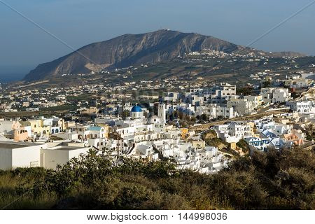 Amazing Landscape to town of Fira and Prophet Elias peak, Santorini island, Thira, Cyclades, Greece