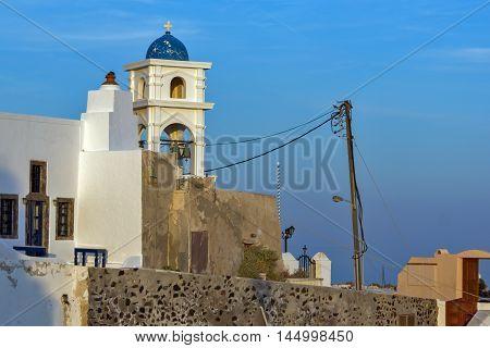 bell tower of orthodox church in town of Firostefani, Santorini island, Thira, Cyclades, Greece