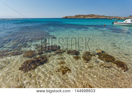 Paranga Beach on the island of Mykonos, Cyclades, Greece