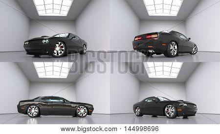 Set powerful black conceptual sports car. Bright large room around. 3D illustration