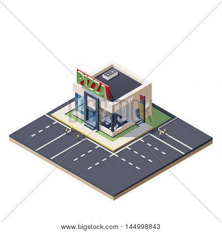 Vector isometric icon representing pizzeria restaurant building