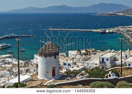 Amazing Panorama of white windmill and island of Mykonos, Cyclades, Greece