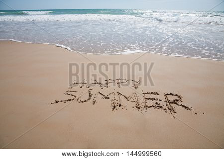 Happy Summer Text In Sand Beach With Ocean