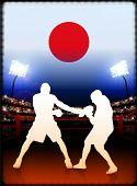 Постер, плакат: Япония бокс на стадион фон оригинальные иллюстрации