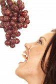 Woman With Grapes By Mouth