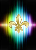 foto of fleur de lis  - Fleur De Lis on Abstract Spectrum Background  Original Illustration - JPG