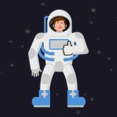 Постер, плакат: Astronaut Thumbs Up Shows Well Cosmonaut Winks Sign All Right Jolly Good Astronaut Mimicry Smile