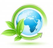 stock photo of green leaves  - Green earth concept - JPG