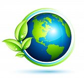stock photo of planet earth  - Green earth with leaves - JPG