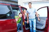 picture of happy family  - Smiling happy family and a family car - JPG