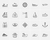Transportation sketch icon set for web, mobile and infographics. Hand drawn transportation icon set. poster