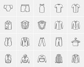 Clothes for men sketch icon set for web, mobile and infographics. Hand drawn clothes for men icon se poster