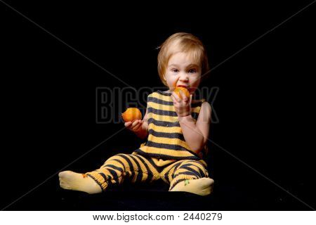 Baby-Bee Eating Oranges