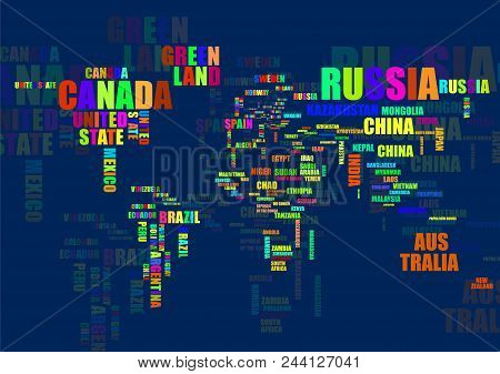 Typography Colorful World Map With Country Names Poster ID:244127041