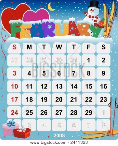 Monthly Wall Calendar February 2008