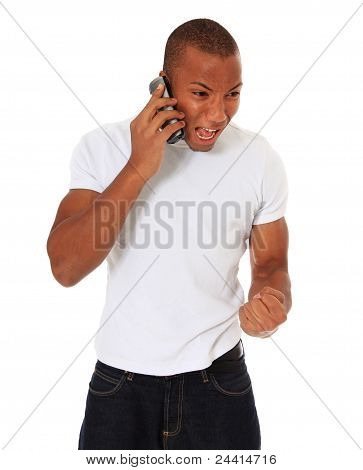Angry man during phone call