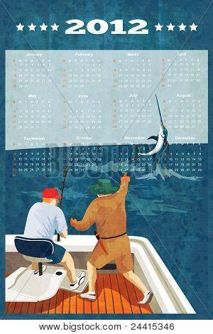 Fishing Poster Calendar 2012 Blue Marlin Fish