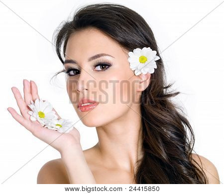 Girl With Clean Fresh Face And Flowers