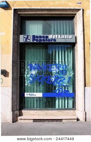 Bank Agency Devastation In Rome