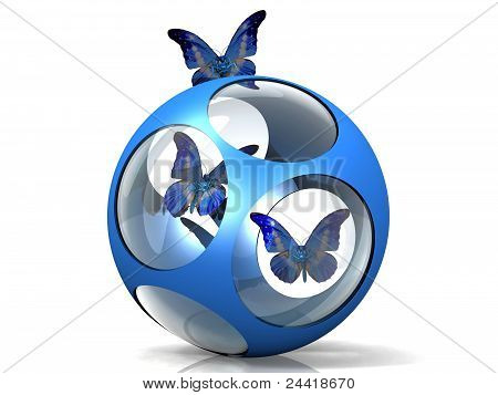 blue ball and butterfly