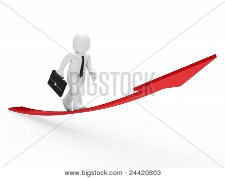 3D Businessman Run Red Arrow