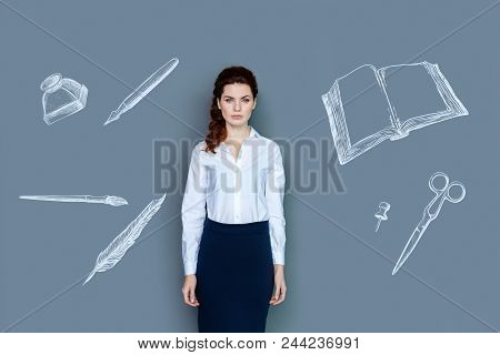 poster of Calm Writer. Young Talented Writer Looking Calm And Confident After Finishing Her New Fascinating Bo