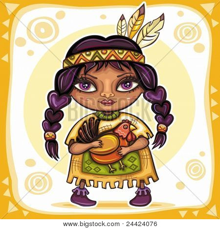 Thanksgiving theme: Cute North American Indian girl with little turkey