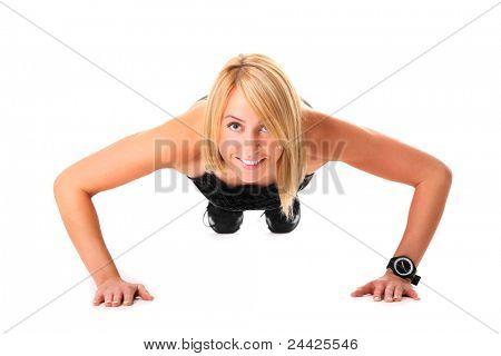 Ein Bild von einer jungen Frau, die working out over white background