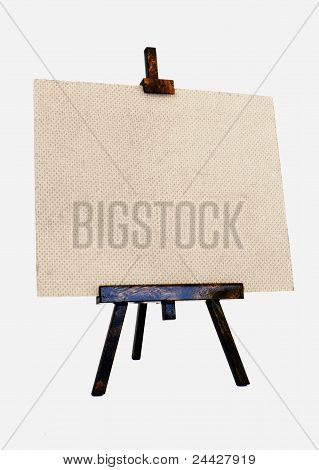 textured canvas and easel