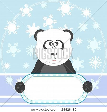 Panda with empty blank and snow vector background