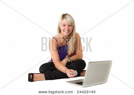 Young Girl Checking Here Laptop