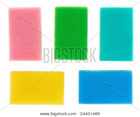Five Multicolored Cellulose Kitchen Sponges, Isolated On White