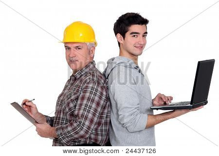 A handyman and his apprentice.