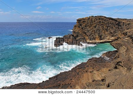 View Of The Coast Near Halona Beach Cove In Hawaii
