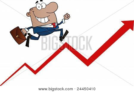 African American Businessman Running Upwards