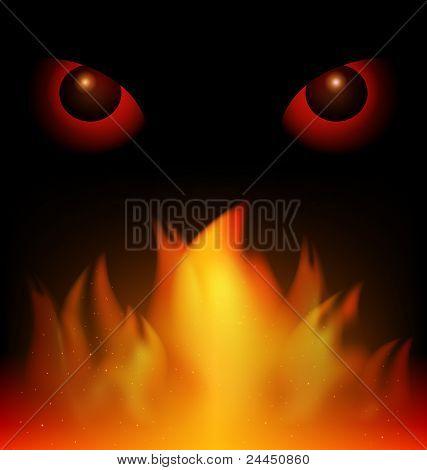 black background red eyes