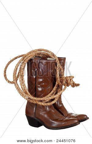 cowboy boots with a lasso
