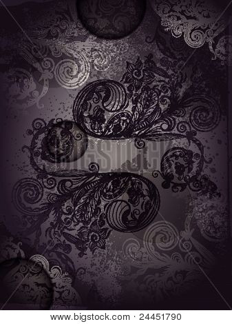 Vector Invitation Template With Abstract  Floral Pattern With Grunge Splashes
