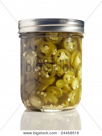 Sliced Jalapenos (Capsicum Annuum) in a Glass Jar on White