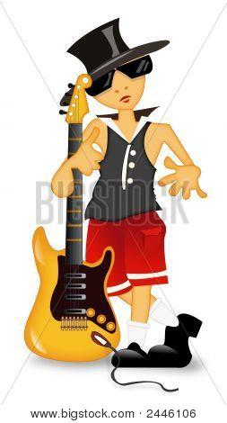 Little Boy Standing And Big Guitar