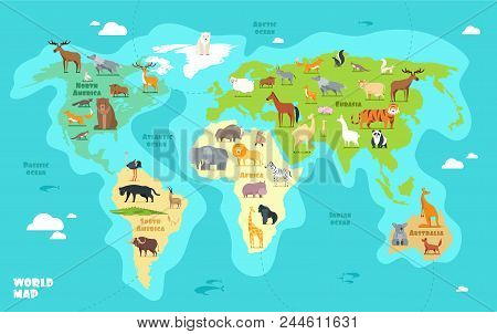 Cartoon world map with animals oceans and continents funny cartoon world map with animals oceans and continents funny geography for kids education vector gumiabroncs Image collections