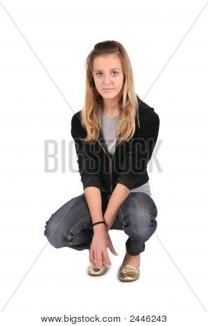 Teeenager Girl Sit On White