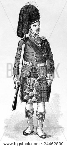 Sergeant of the 1st Battalion of the Argyll and Sutherland Highlanders in review order. Engraved by anonymous engraver and published in The Graphic newspaper, United Kingdom, 1894.