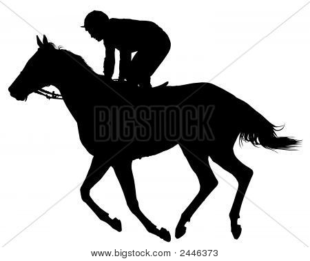 Very Detailed Vector Of A Jockey And Horse