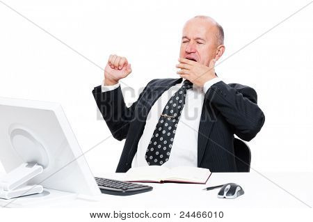 tired businessman in office over white background