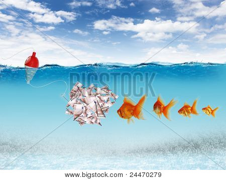 Swimming gold fish and money symbols