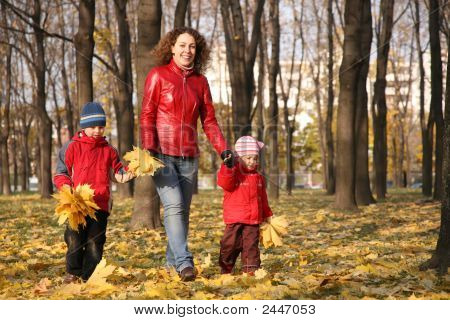 Mother Goes For A Walk With The Children