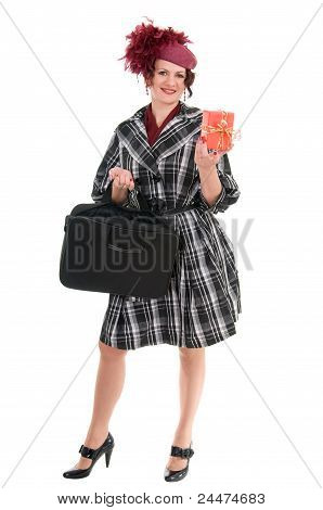 Woman Is With A Bag And Gift