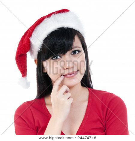 Christmas Girl Thinking